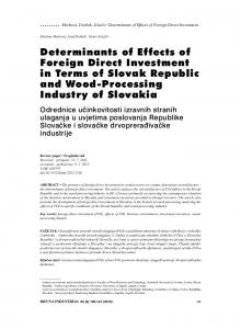 Determinants of Effects of Foreign Direct Investment ... - Drvna industrija
