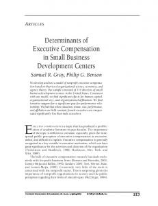 Determinants of Executive Compensation in Small Business ...