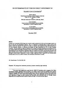 determinants of foreign direct investment - cerge-ei