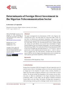 Determinants of Foreign Direct Investment in the Nigerian