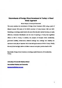 Determinants of Foreign Direct Investment in Turkey