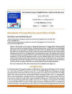 Determinants of Foreign Direct Investment Inflows in