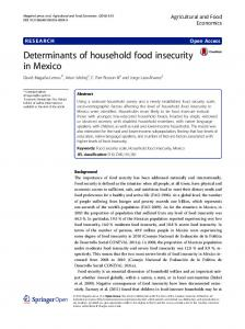 Determinants of household food insecurity in Mexico   Agricultural and ...