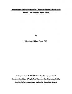 Determinants of Household Poverty Dynamics in ... - AgEcon Search