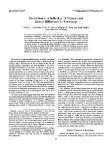 Determinants of Individual Differences and Gender ...