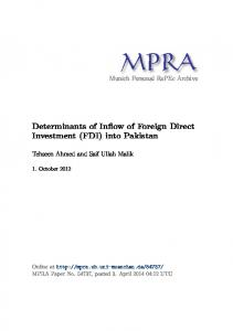 Determinants of Inflow of Foreign Direct Investment (FDI) into Pakistan