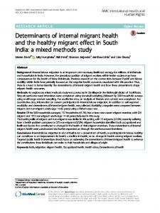Determinants of internal migrant health and the healthy migrant effect ...