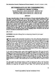 determinants of ipo underpricing: evidence from tunisia - SSRN papers