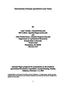 Determinants of Kansas Agricultural Land Values By ... - AgEcon Search
