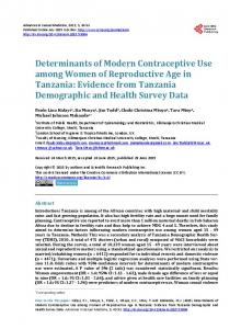 Determinants of Modern Contraceptive Use among