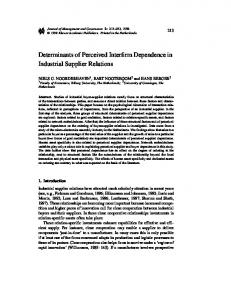 Determinants of Perceived Interfirm Dependence in Industrial Supplier ...