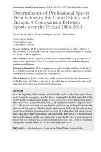 Determinants of Professional Sports Firm Values in the United States ...