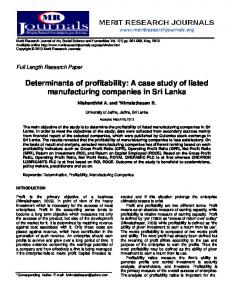 Determinants of profitability: A case study of listed ...