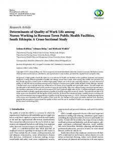 Determinants of Quality of Work Life among Nurses Working in ...