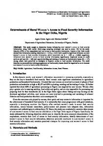 Determinants of Rural Women's Access to Food Security Information in ...