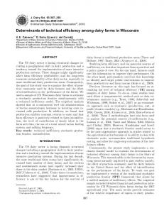 Determinants of technical efficiency among dairy farms in Wisconsin