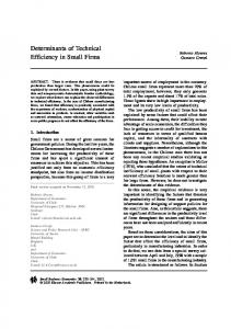 Determinants of Technical Efficiency in Small Firms - Springer Link