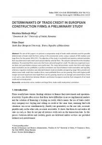 determinants of trade credit in european construction firms
