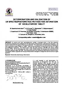 determination and validation of uv spectrophotometric method for ...