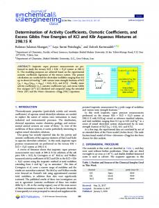 Determination of Activity Coefficients, Osmotic Coefficients, and