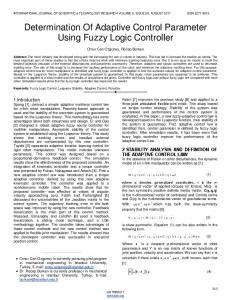 Determination Of Adaptive Control Parameter Using Fuzzy Logic