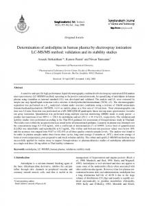 Determination of amlodipine in human plasma by electrospray ...