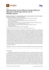 Determination of Cost-Effective Energy Efficiency Measures in ... - MDPI