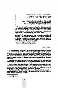 DETERMINATION OF DEFENCE CAPABILITY REQUIREMENTS ...
