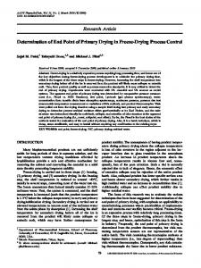 Determination of End Point of Primary Drying in Freeze-Drying ...