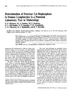 Determination of fructose 2,6-bisphosphate in human ... - Springer Link