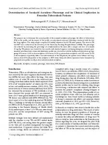 Determination of Isoniazid Acetylator Phenotype and its Clinical ...