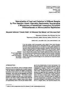 Determination of Lead and Cadmium in Different Samples by Flow