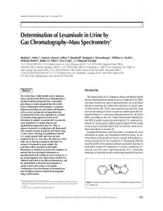 Determination of Levamisole in Urine by Gas Chromatography-Mass ...