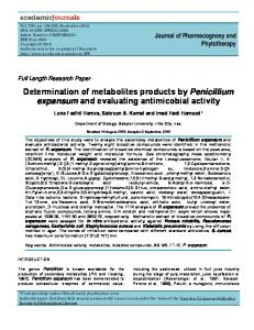 Determination of metabolites products by ... - Academic Journals
