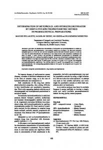 determination of metoprolol and hydrochlorothiazide by derivative ...