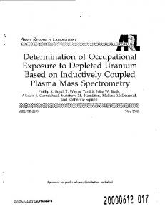 Determination of Occupational Exposure to Depleted Uranium Based ...