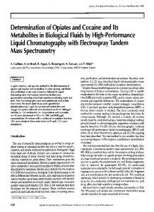 Determination of Opiates and Cocaine and Its Metabolites in ...