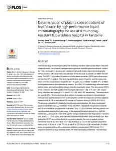 Determination of plasma concentrations of levofloxacin by high ... - PLOS