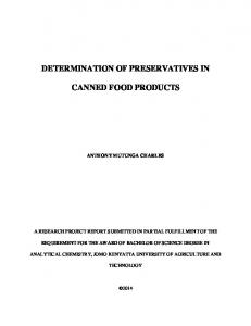 determination of preservatives in canned food products