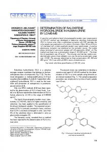 determination of raloxifene hydrochloride in human urine by lc-ms-ms
