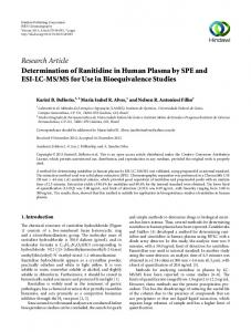Determination of Ranitidine in Human Plasma by SPE and ESI-LC-MS