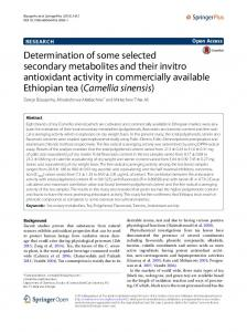 Determination of some selected secondary metabolites and their ...