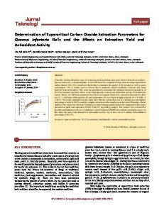 Determination of Supercritical Carbon Dioxide Extraction Parameters