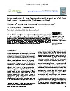 Determination of Surface Topography and ... - Lifescience Global