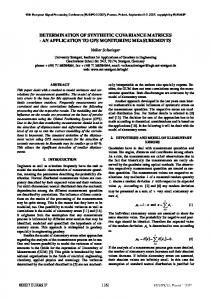 Determination of Synthetic Covariance Matrices - an ... - eurasip