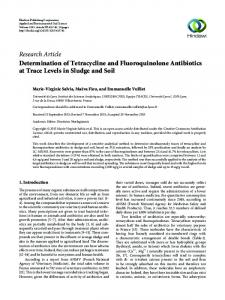 Determination of Tetracycline and Fluoroquinolone Antibiotics at Trace ...