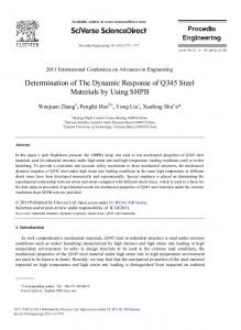 Determination of The Dynamic Response of Q345 Steel ... - Core