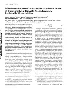 Determination of the Fluorescence Quantum Yield of ...