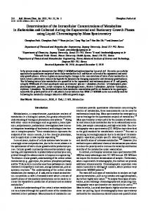 Determination of the Intracellular Concentrations of Metabolites in ...