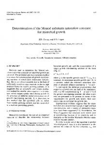 Determination of the Monod substrate saturation ... - Wiley Online Library